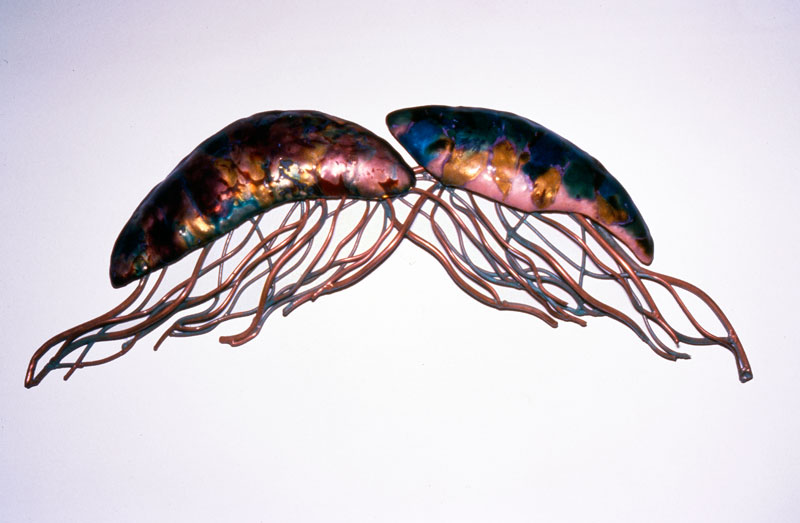 Metal jellyfish Sculpture by Karen Kieser